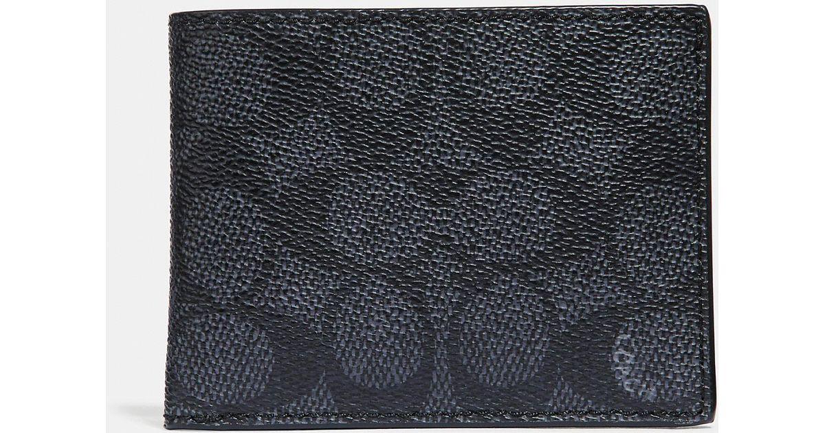 06e3e5f6022c Lyst - COACH Slim Billfold Wallet In Signature Canvas for Men