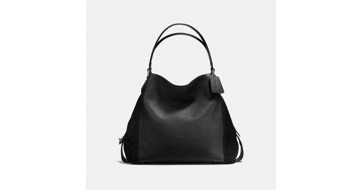 Mixed Edie Black 42 Shoulder Lyst In Leathers Coach Bag zPvZqYw