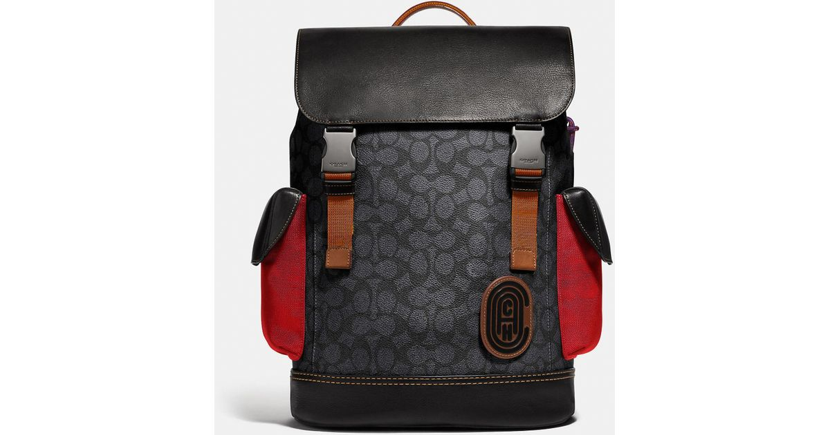 236bee3c5ce0 Lyst - COACH Rivington Backpack In Signature Canvas With Patch in Black for  Men - Save 4%