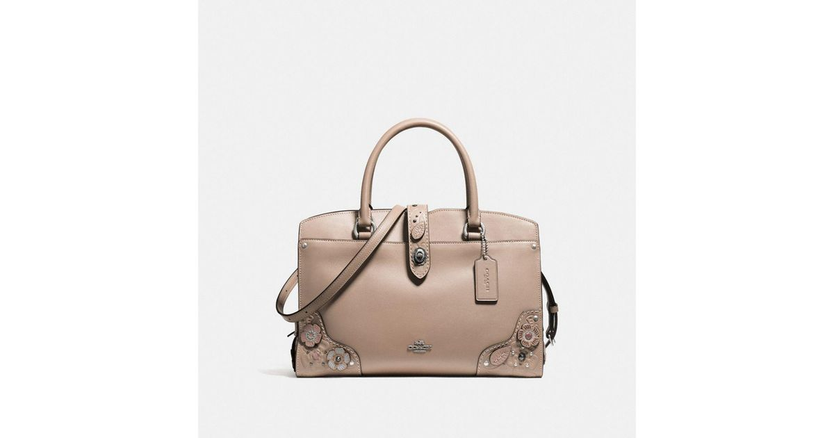 20e9298f272a7 ... uk coach mercer satchel 30 in glovetanned leather with painted tea rose  and tooling lyst 8c343