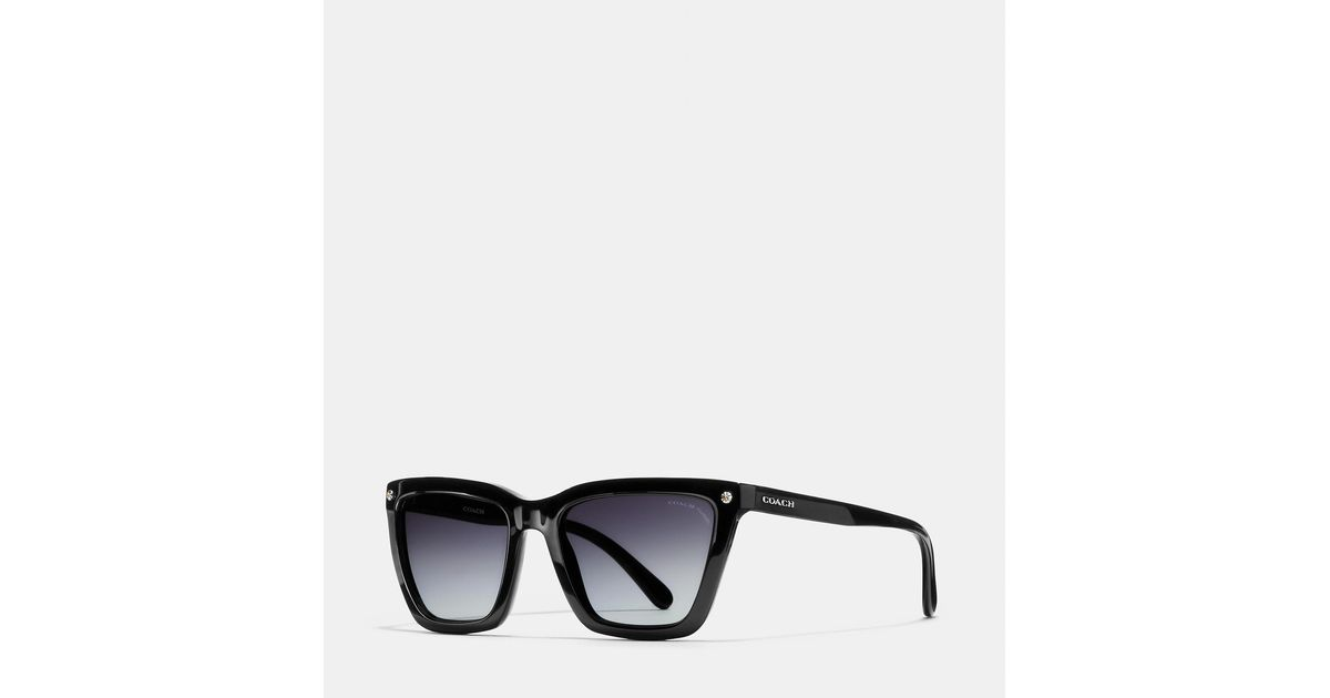 6424c96aa485a COACH New York Square Sunglasses in Black - Lyst