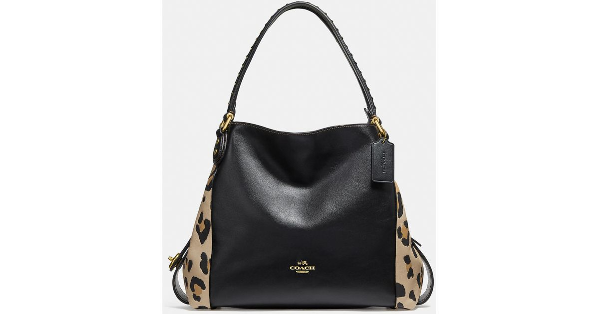 Lyst - COACH Edie Shoulder Bag 31 With Blocked Leopard Print in Black 2aa5768e6a9a7