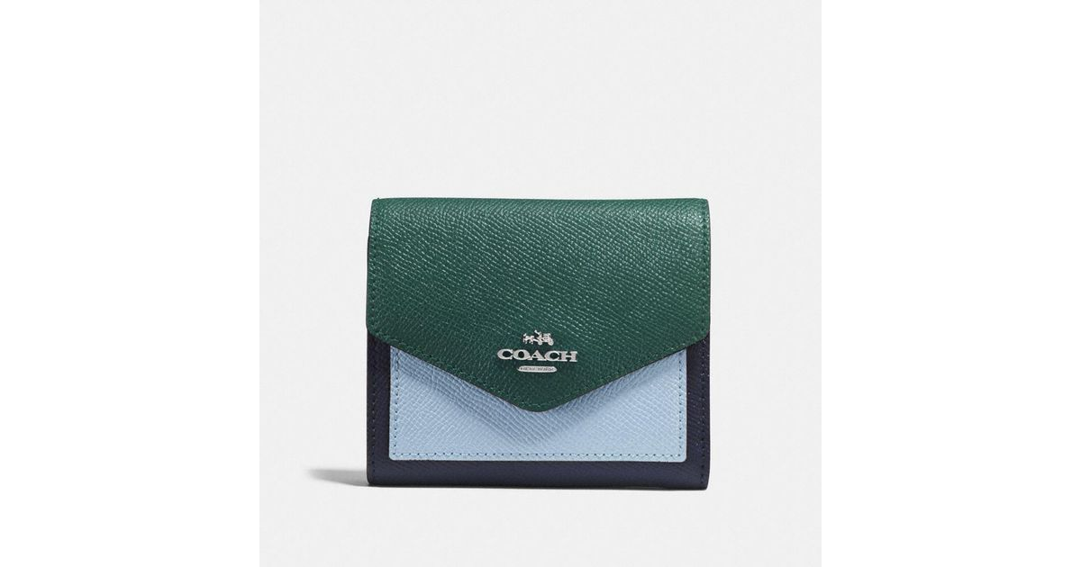 Lyst Coach Small Wallet In Colorblock Leather In Green