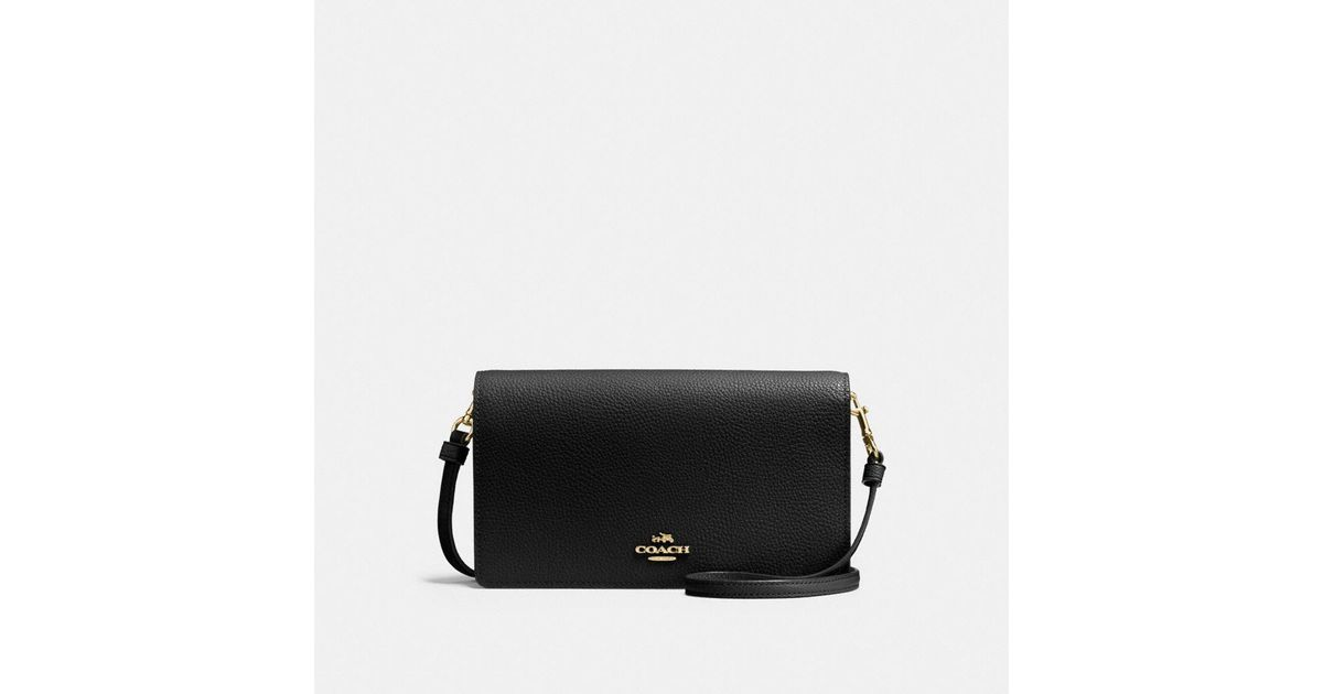 beautiful design detailing highly praised COACH Black Foldover Crossbody Clutch In Polished Pebble Leather