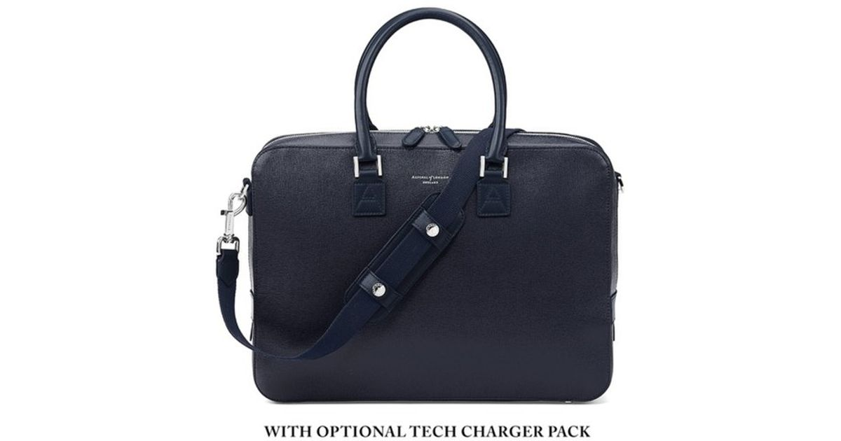 Aspinal Mount Street Small Briefcase in Blue for Men