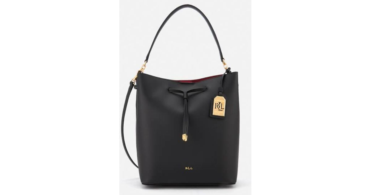 58d7a0418521 Lyst - Lauren by Ralph Lauren Women s Dryden Debby Drawstring Bucket Bag in  Black