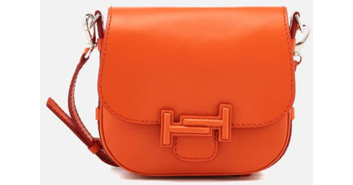 a3d9f60496 Tod's Women's Double T Mini Shoulder Bag in Orange - Lyst