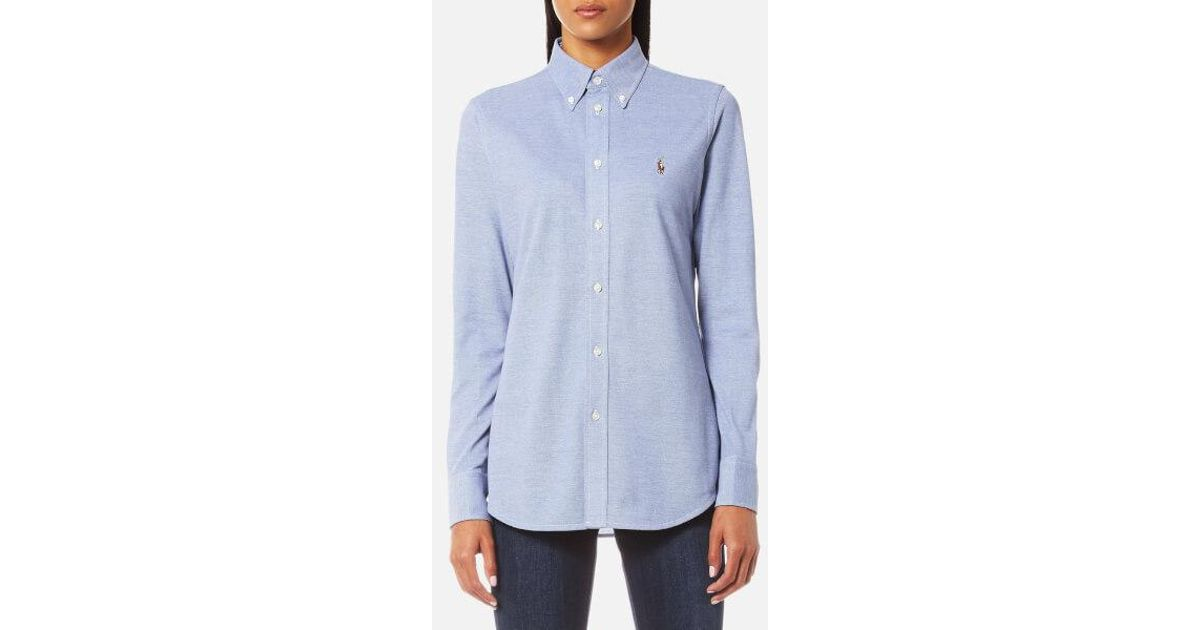 230c99936e89c3 Lyst - Polo Ralph Lauren Women s Heidi Skinny Fit Stretch Shirt in Blue
