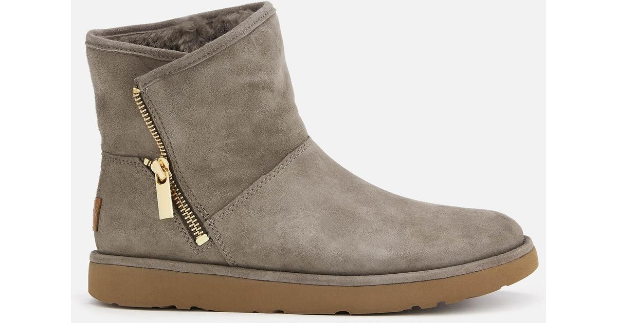 9043c1e3ff6 Ugg - Gray Kip Side Zip Suede Boots - Lyst
