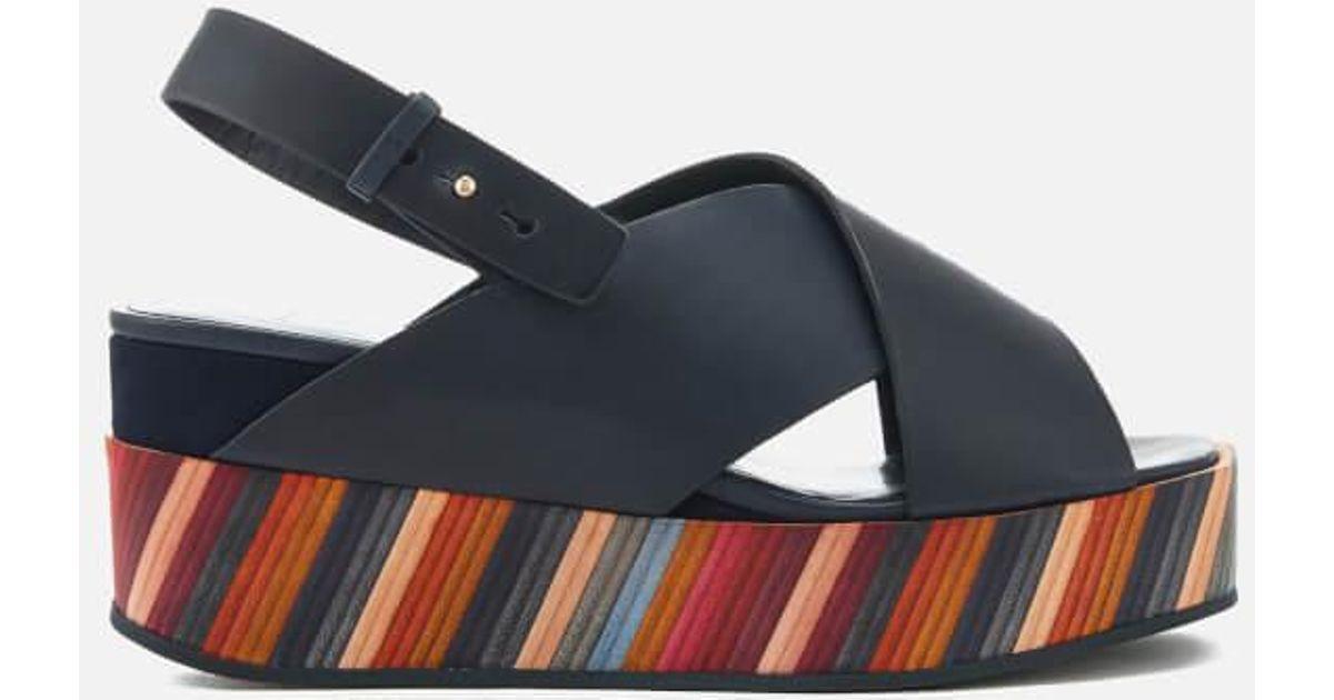 ff4de3bea24 Paul Smith Women's Noe Swirl Flatform Sandals in Black - Lyst