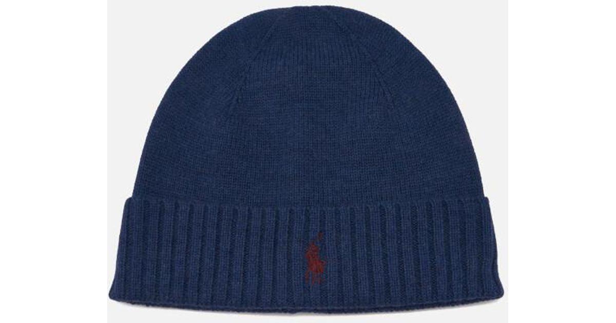 5415e35db Polo Ralph Lauren Men s Merino Wool Beanie Hat in Blue for Men - Lyst