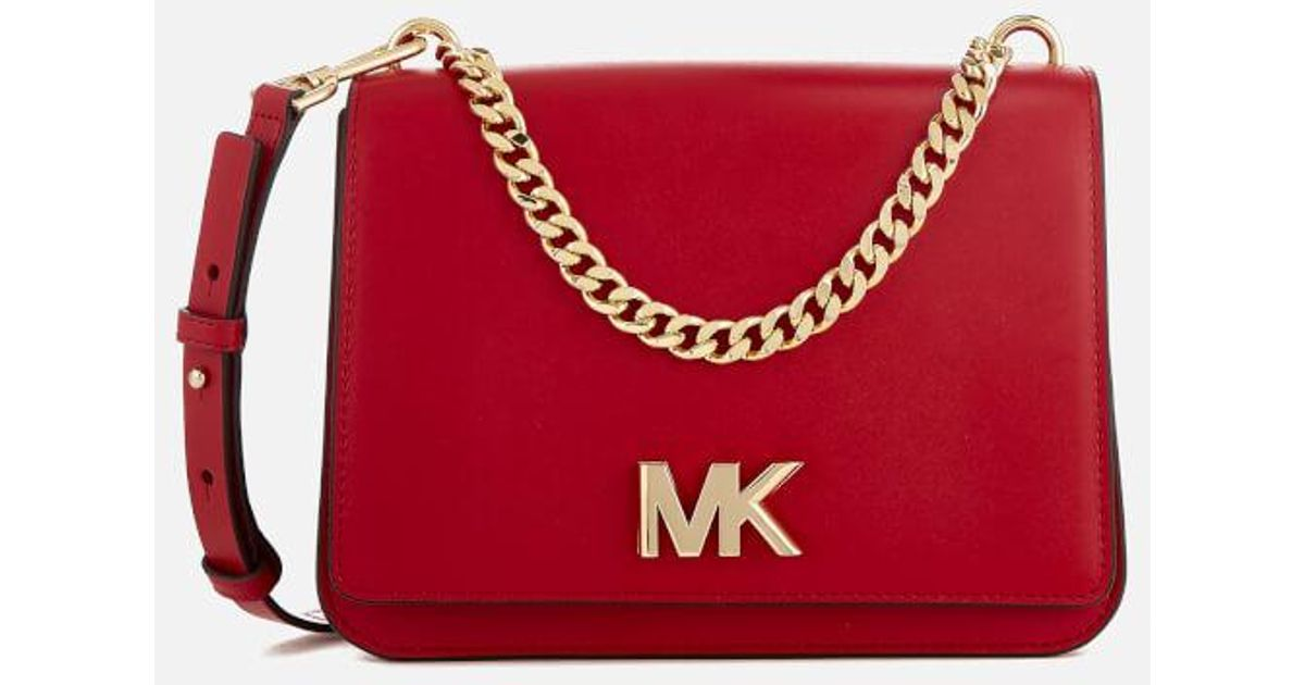 67788e5ee0d Lyst - MICHAEL Michael Kors Women s Mott Large Chain Swag Shoulder Bag in  Red
