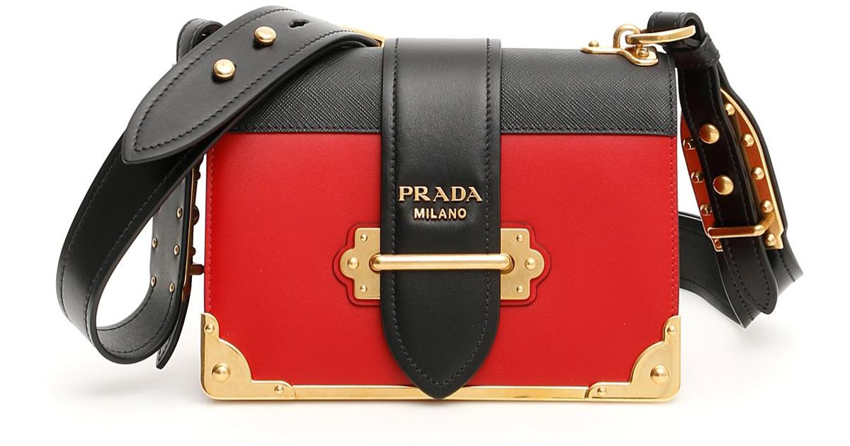 8aac988cdfcb74 Prada Bicolor Cahier Bag in Red - Lyst