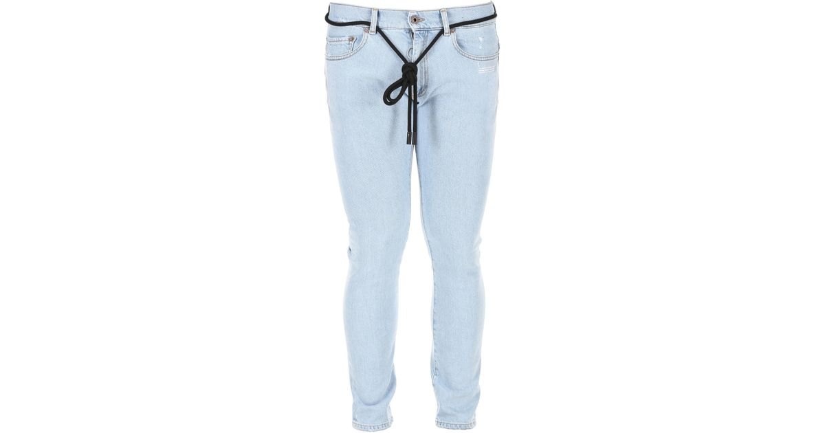 082f48a9eb80 Lyst - Off-White c o Virgil Abloh Skinny Jeans With Temperature Print in  Blue for Men