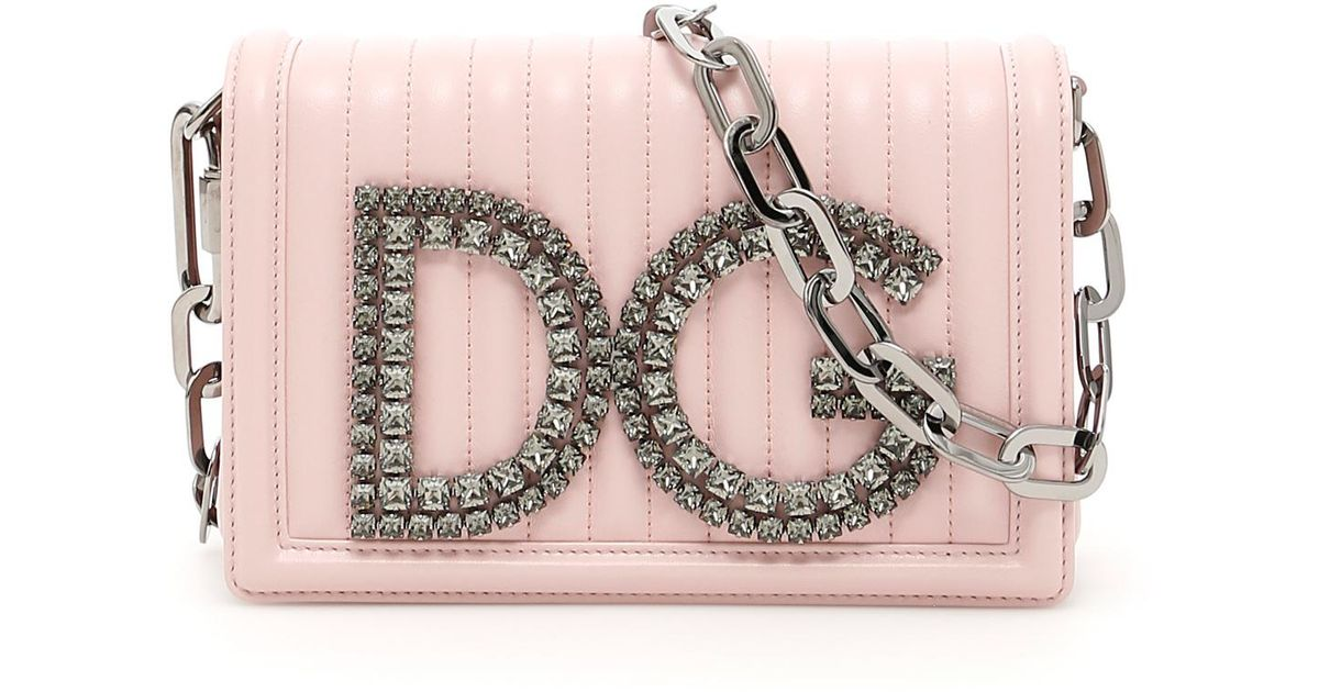 Dolce   Gabbana Quilted Nappa Dg Clutch in Pink - Lyst 2868583eec37f