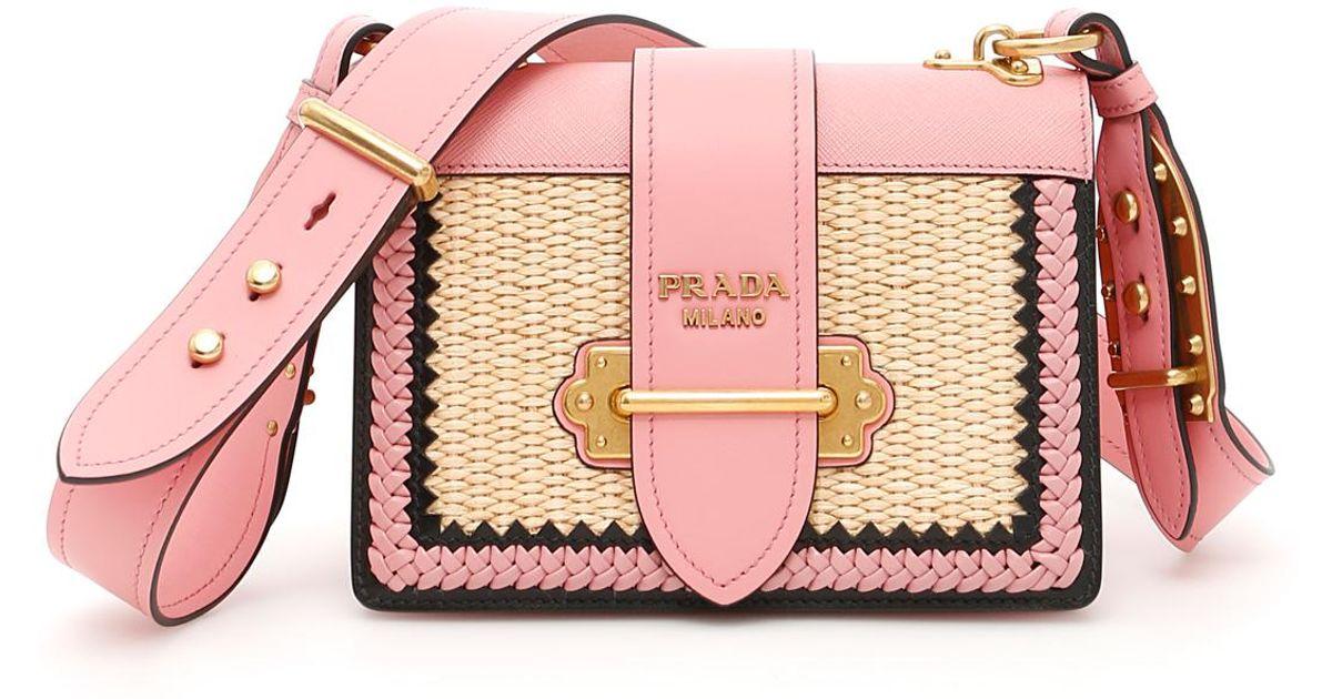 0303d503f942 ... hot lyst prada calfskin and straw cahier bag in pink 0ab91 1b8b4