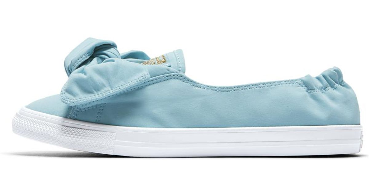e5089e28968b Lyst - Converse Chuck Taylor All Star Knot Brushed Twill Low Top Women s  Slip in Blue