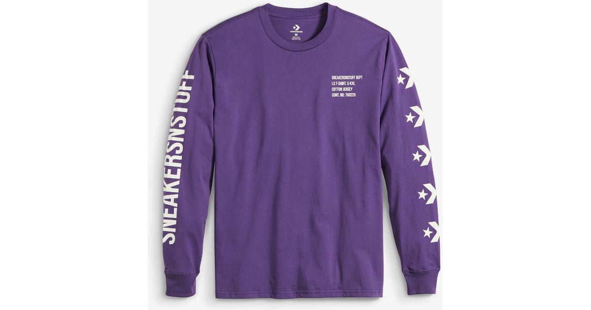 76e335efadda Converse X Sneakersnstuff Men's Long Sleeve T-shirt in Purple for Men - Lyst