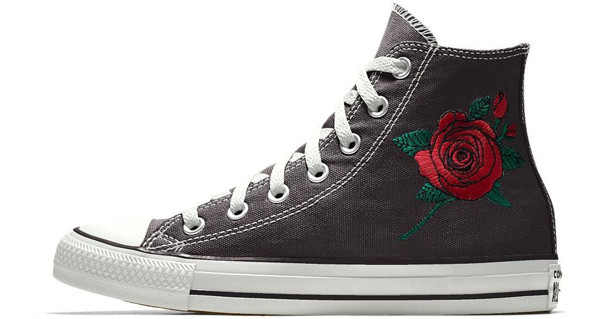 595fedaf208e Lyst - Converse Custom Chuck Taylor All Star Rose Embroidery High Top Shoe  in Black
