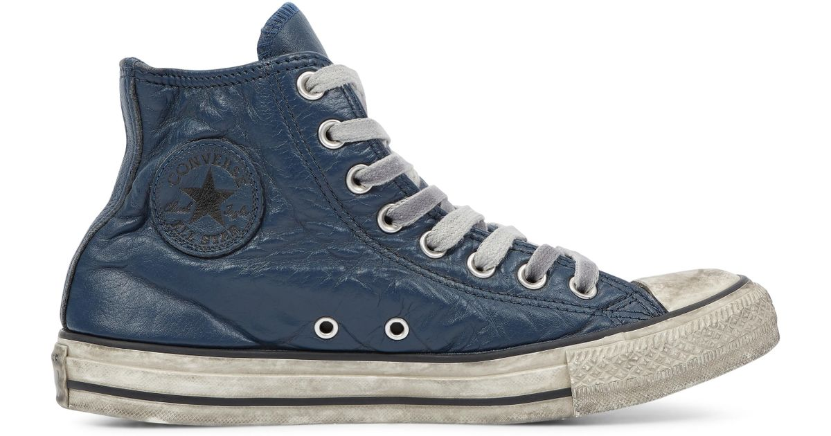 d92bb81b4b51c Converse Chuck Taylor All Star Vintage Leather High Top in Blue for Men -  Lyst