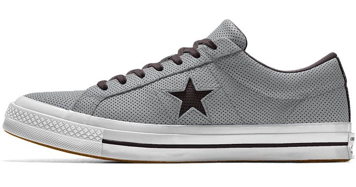 63a48338e986 Lyst - Converse Custom One Star All Over Perforated Leather Low Top Shoe in  White for Men