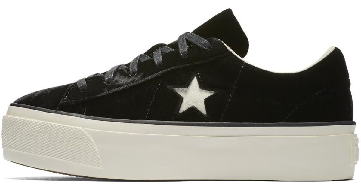 0a5e5331287865 Lyst - Converse One Star Platform Trainers in Black