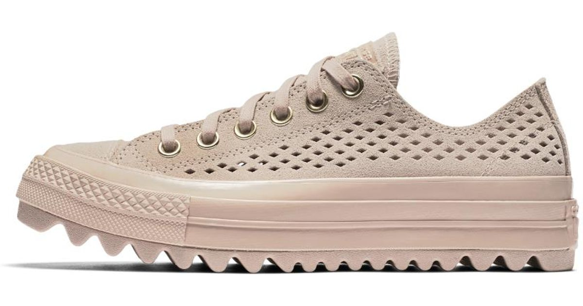 e72e55da733e Lyst - Converse Chuck Taylor All Star Lift Ripple Perforated Suede Low Top  Women s Shoe in Natural