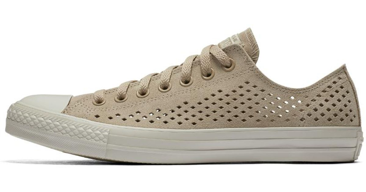 34f9eecf0f3b8a Lyst - Converse Chuck Taylor All Star Perforated Suede Low Top Shoe
