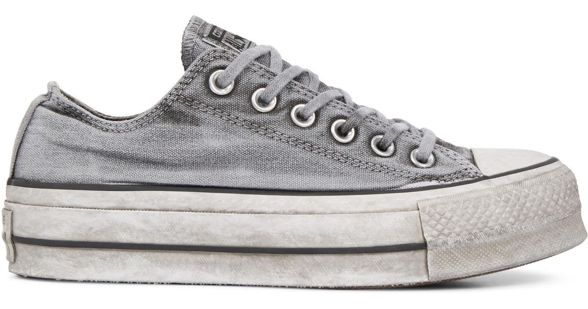 73eb8a0cb027 Converse Chuck Taylor All Star Lift Smoked Canvas Low Top in Gray - Lyst