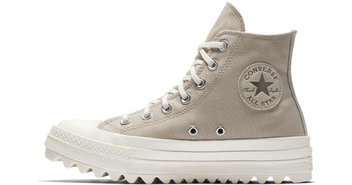 d9208639398a Lyst - Converse Chuck Taylor All Star Lift Ripple Precious Metal High Top  Women s Shoe in Brown