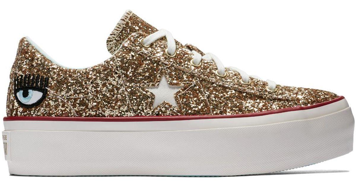 985ef9d7c463 Converse X Chiara Ferragni One Star Platform Glitter - Lyst