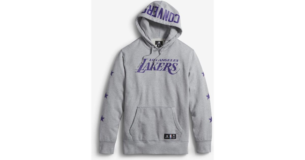 d509bbe8bc92 Lyst - Converse X Nba Los Angeles Lakers Essentials Pullover Men s Hoodie  in Gray for Men