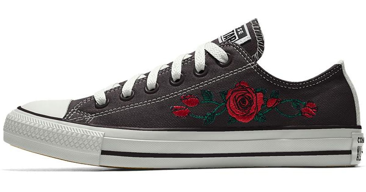bb8fb95ac490 Lyst - Converse Custom Chuck Taylor All Star Rose Embroidery Low Top Shoe