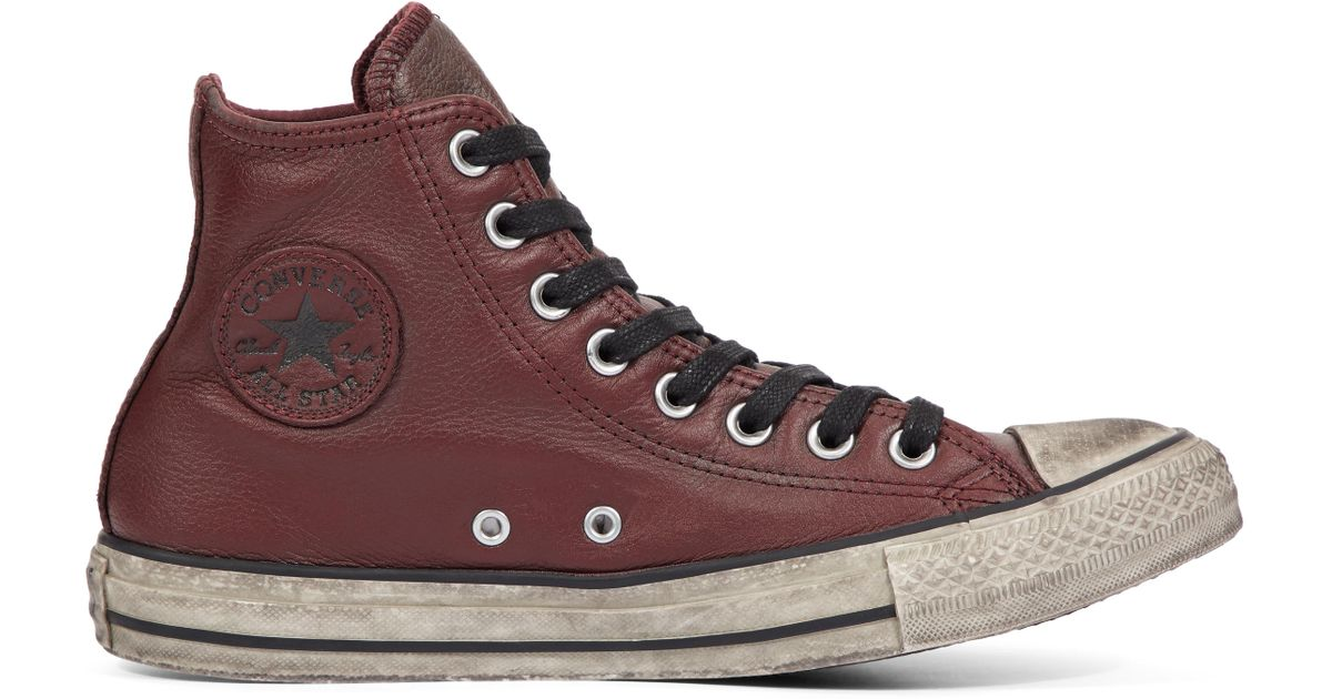 1ab0415eb2b3 Converse Chuck Taylor All Star Vintage Leather High Top in Red - Lyst