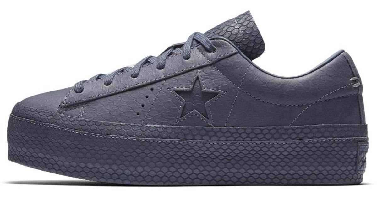 0a26d449723 Lyst - Converse One Star Platform Premium Leather Low Top Women s Shoe in  Purple