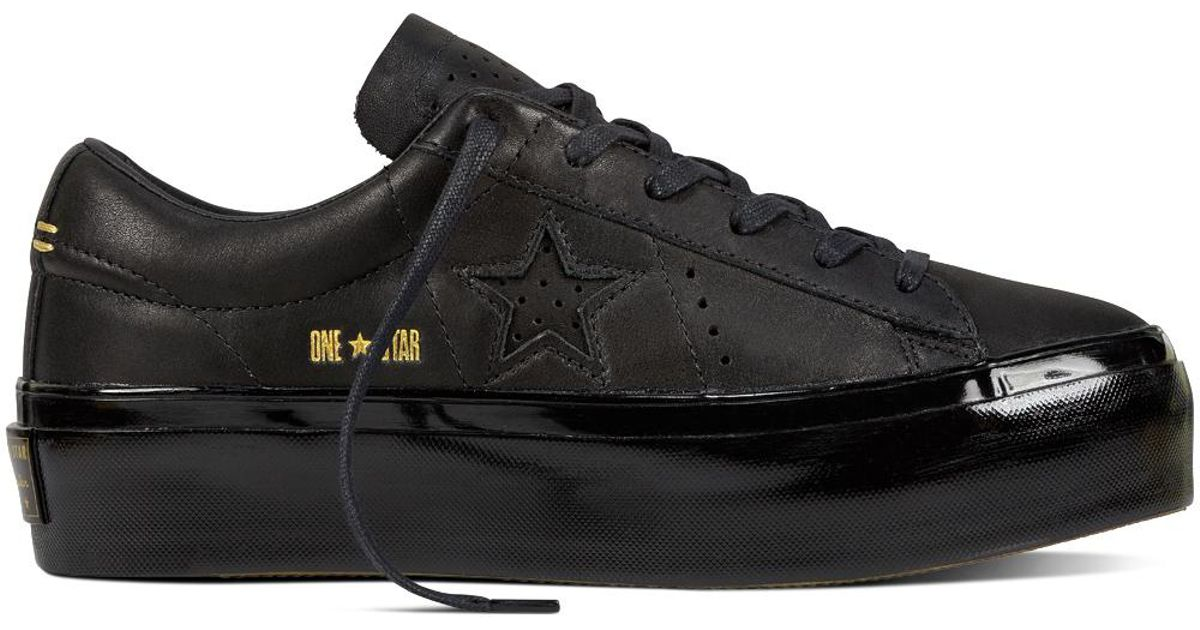 Converse One Star Platform Leather in Black - Lyst 2833e6a38d08