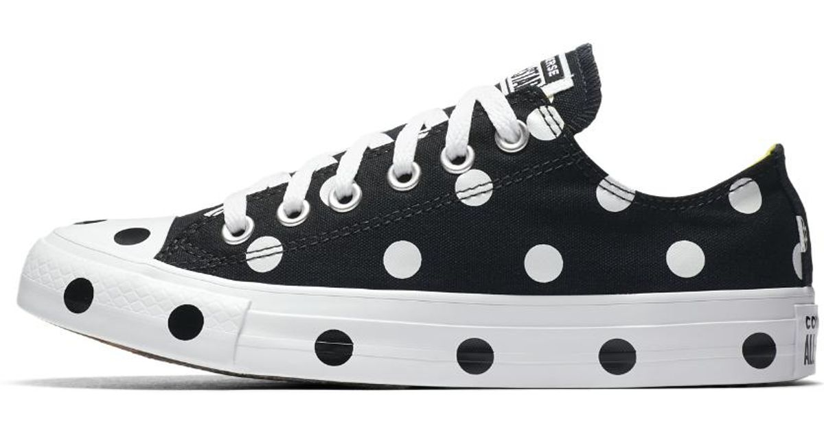 8f235f149800e6 Lyst - Converse Chuck Taylor All Star Polka Dots Low Top Women s Shoe in  Black