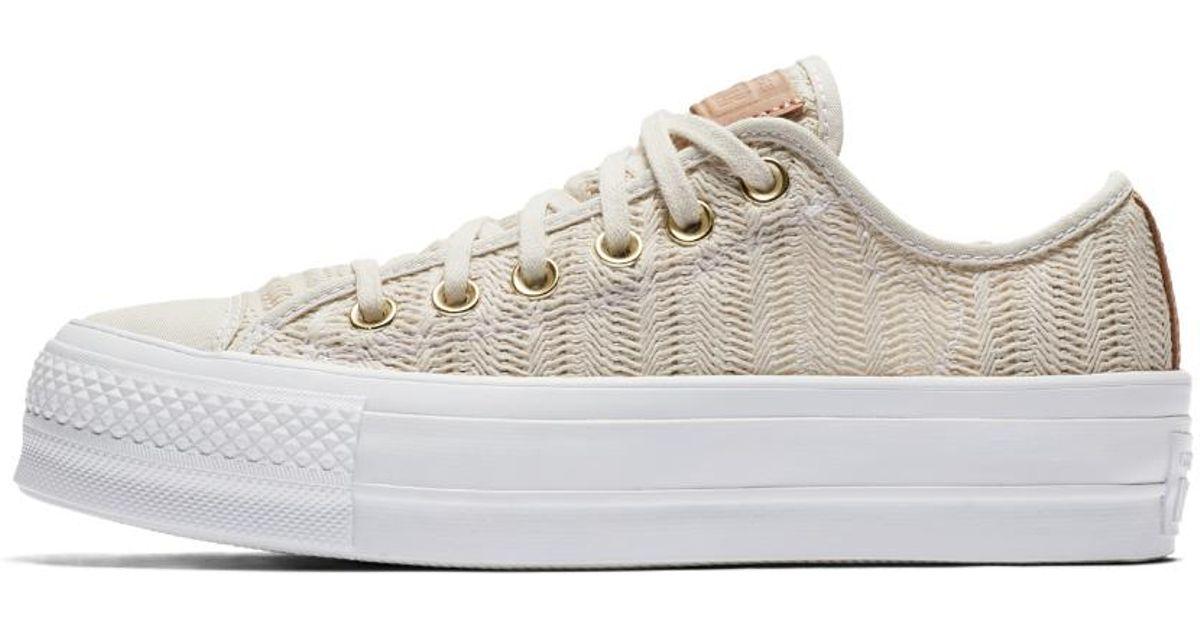 Lyst - Converse Chuck Taylor All Star Lift Herringbone Mesh Low Top Women s  Shoe in White 3613a4ad5