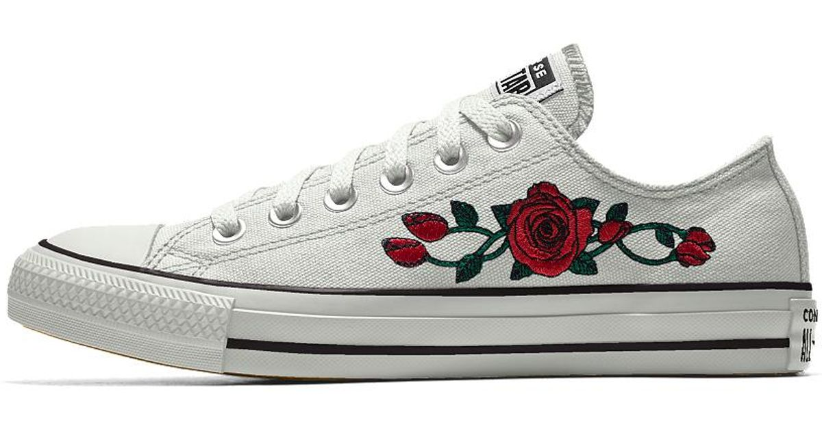 1813c42097ab Lyst - Converse Custom Chuck Taylor All Star Rose Embroidery Low Top Shoe  in White