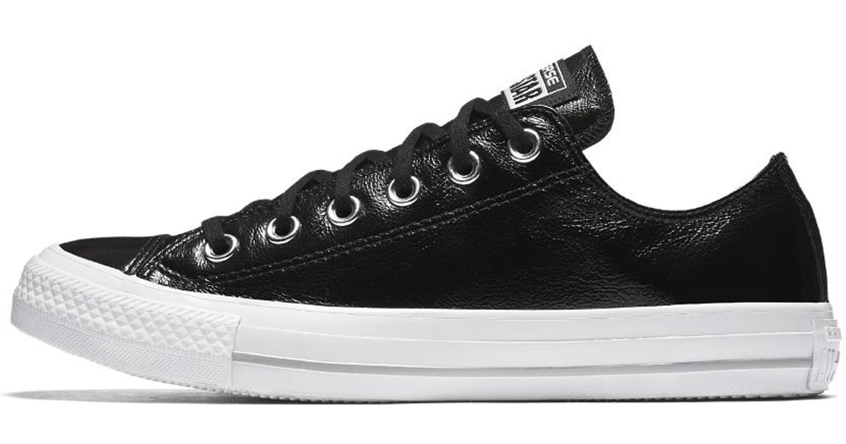 Lyst - Converse Chuck Taylor All Star Crinkled Patent Leather Low Top  Women s Shoe in Black 6d033400ea