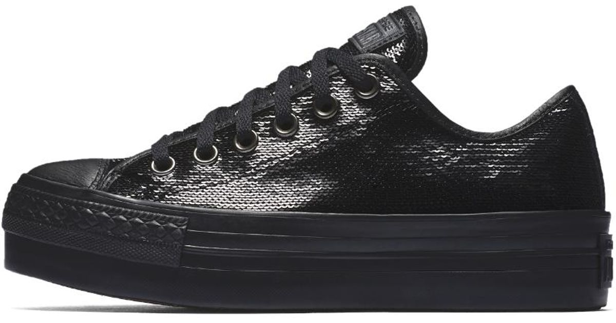 778d2a1480f96f Lyst - Converse Chuck Taylor All Star Sequin Platform Low Top Women s Shoe  in Black