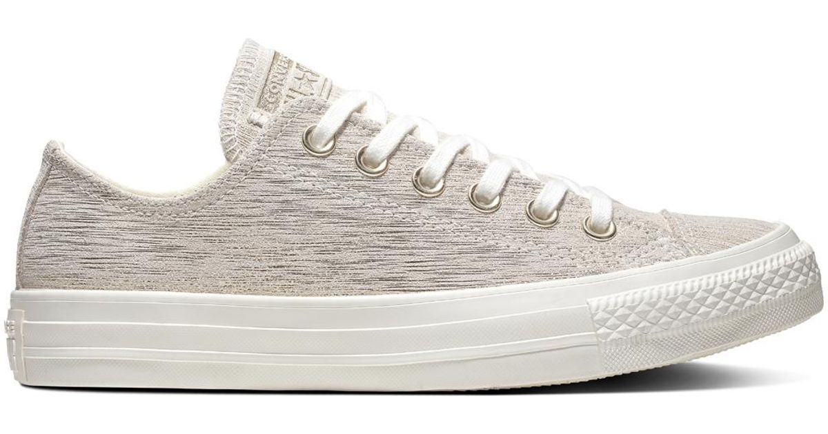 9d4771879ced Converse Chuck Taylor All Star Precious Metal Suede Low Top in Gray - Lyst