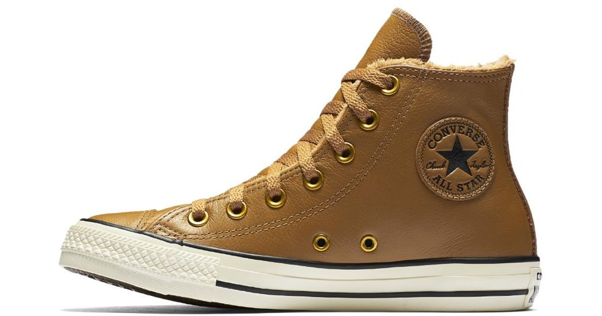 377f19be08f4 Lyst - Converse Chuck Taylor All Star Leather And Faux Fur High Top Women s  Shoe in Brown