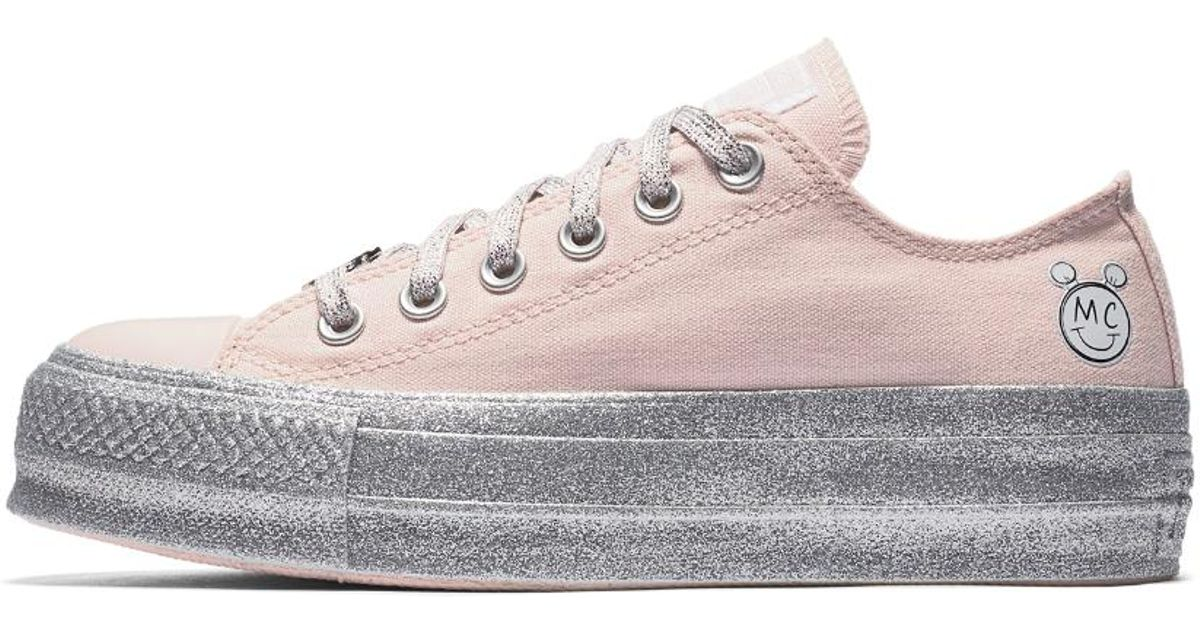 fa64e449c2c904 Lyst - Converse X Miley Cyrus Chuck Taylor All Star Lift Low Top Women s  Shoe in Pink
