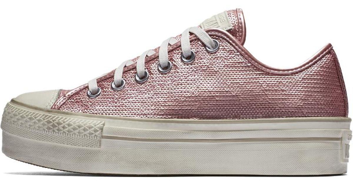 Lyst - Converse Chuck Taylor All Star Sequin Platform Low Top Women s Shoe  in Pink 5b8f06d1b