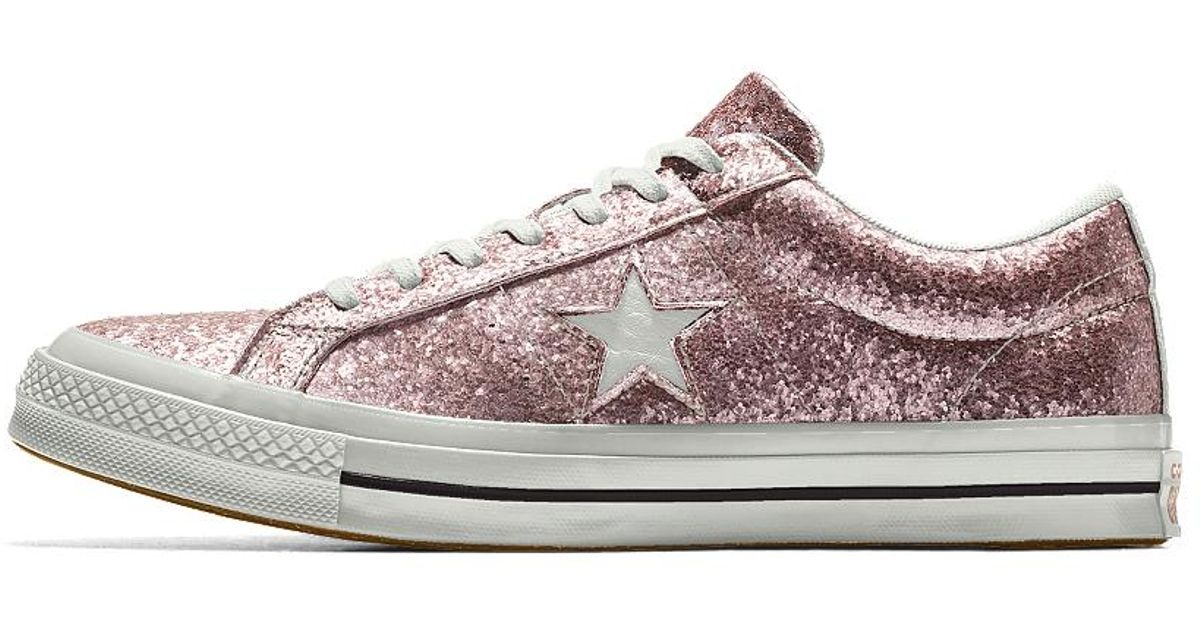 049cc52b36bba0 Lyst - Converse Custom One Star Glitter Shoe