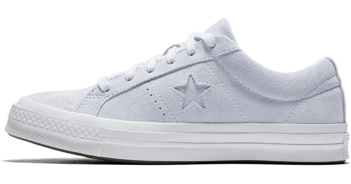 4bc293e8d1589f Lyst - Converse One Star Plush Suede Water Repellent Women s Shoe in White