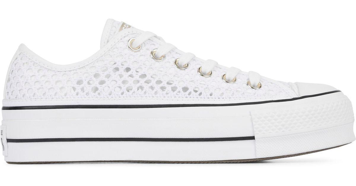 b6bd35ea085 Converse. Men's White Chuck Taylor All Star Handmade Crochet Lift Low Top