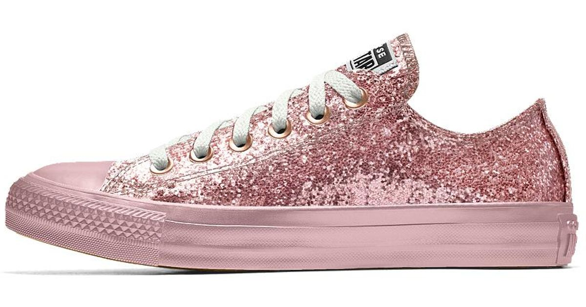 cf75c415a689 Lyst - Converse Custom Chuck Taylor All Star Glitter Low Top Shoe in Pink