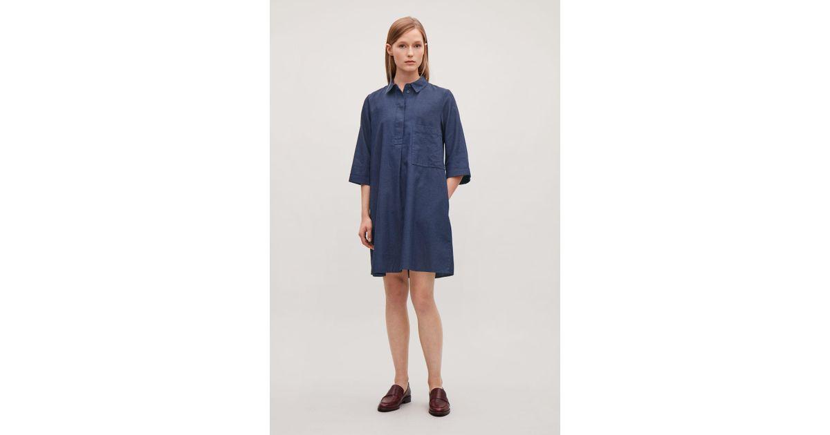 Lyst - COS Short-placket Denim Shirt Dress in Blue a0c34266c